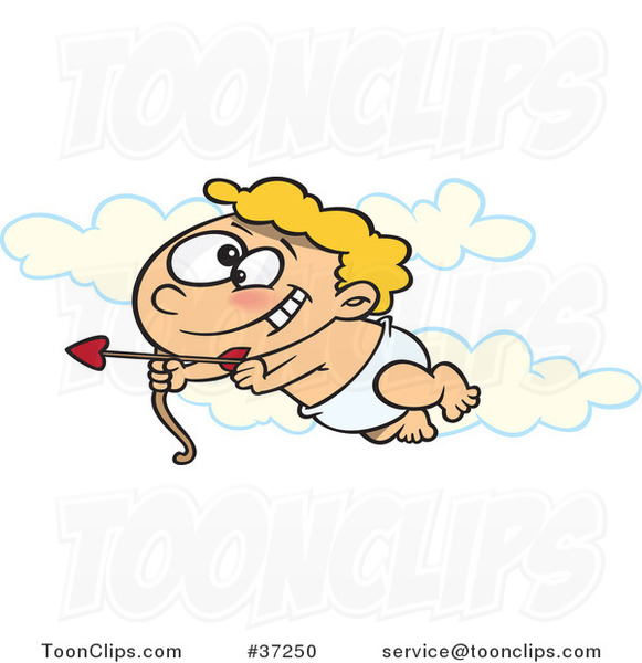 Cartoon Baby Cupid Flying in the Sky with an Arrow