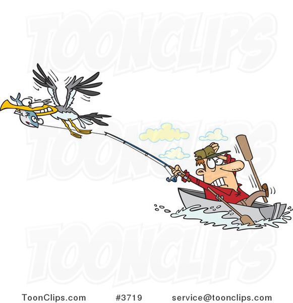 Cartoon Bad Gull Stealing a Fish from a Fisher Man
