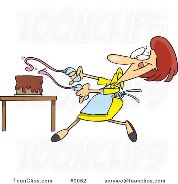 Cake Decoration Cartoon : Cartoon Baker Lady Decorating a Cake #9062 by Ron Leishman