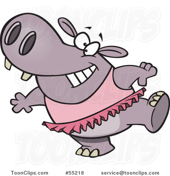 Cartoon Ballet Hippo in a Pink Tutu