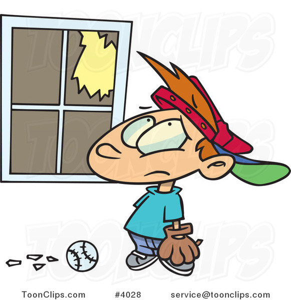 Cartoon Baseball Boy Looking at a Broken Window