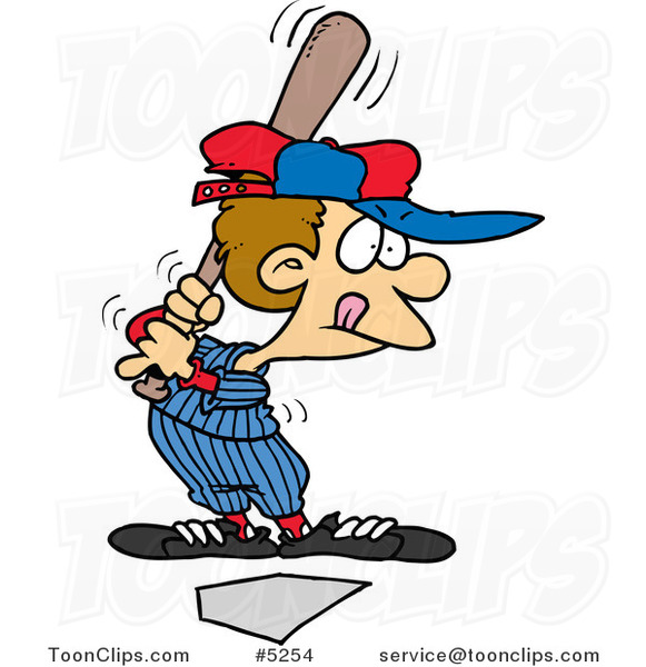Cartoon Baseball Boy up for Bat