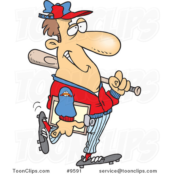 Cartoon Baseball Coach
