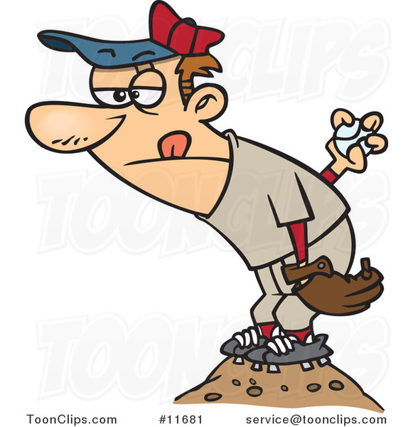 Cartoon Baseball Pitcher on the Mound