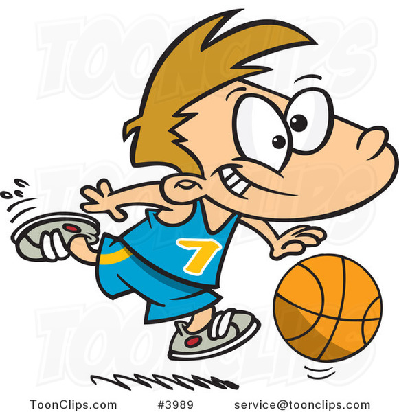 Cartoon Basketball Boy Dribbling