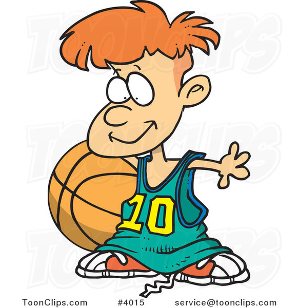 Cartoon Basketball Boy with a Big Ball