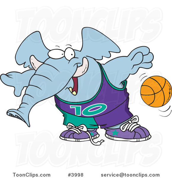 Cartoon Basketball Elephant