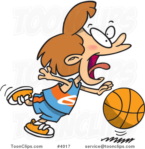 Cartoon Basketball Girl Dribbling