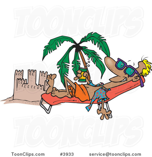cartoon beach bum guy tanning by a sand castle 3933 by funny turkey clip art free funny thanksgiving clip art images