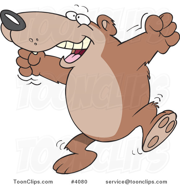 Cartoon Bear Celebrating