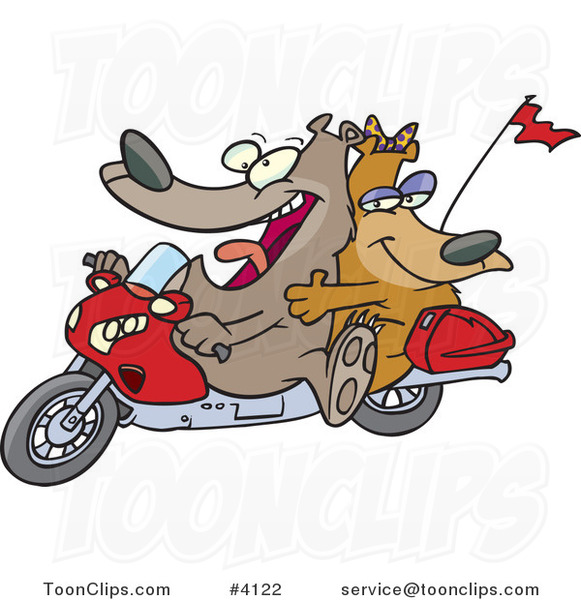 Cartoon Bear Couple on a Motorcycle