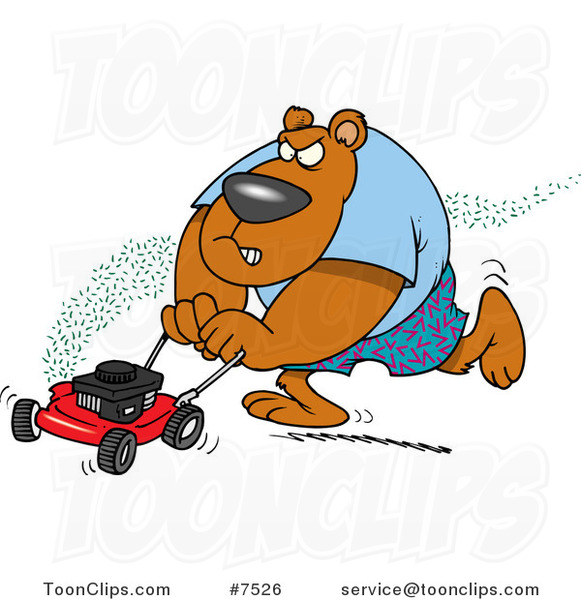 Cartoon Bear Mowing His Lawn