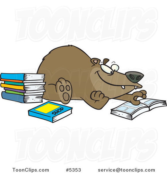 Cartoon Bear Reading Books