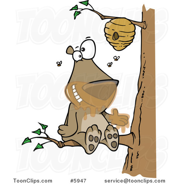 Cartoon Bear Sitting on a Branch and Getting Honey