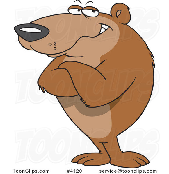 Cartoon Bear Standing with Folded Arms