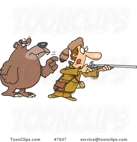 Cartoon Bear Tapping a Hunter on the Shoulder