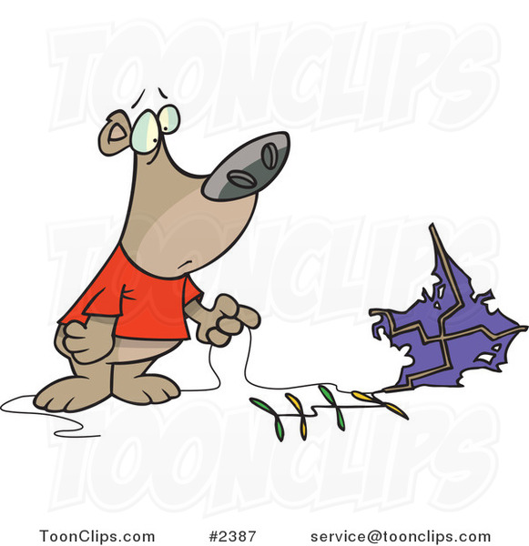 Cartoon Bear with a Crashed Kite