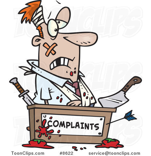 Cartoon Beat up Business Man at a Complaints Desk