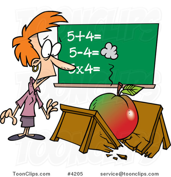 Cartoon Big Apple Crushing a Teacher's Desk