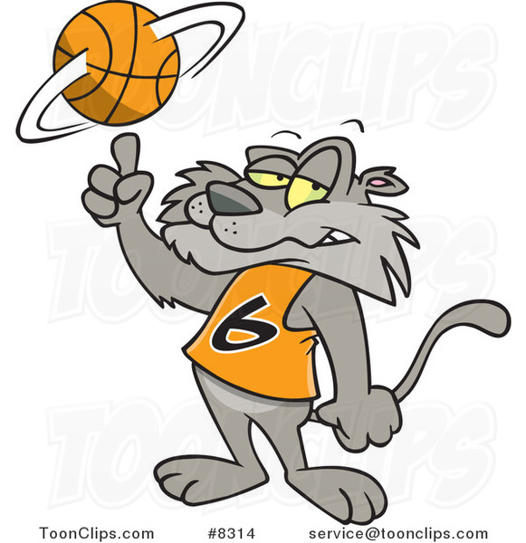Cartoon Big Cat Spinning a Basketball