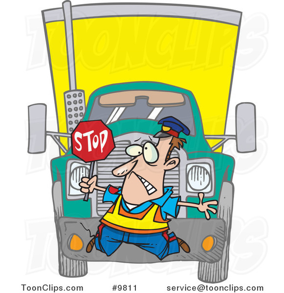 Cartoon Big Rig Hitting a Crossing Guard