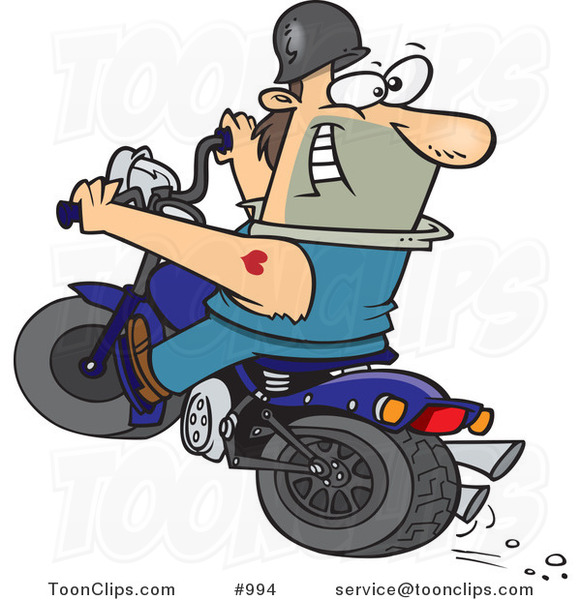 Cartoon Biker Riding a Blue Hog and Looking Back