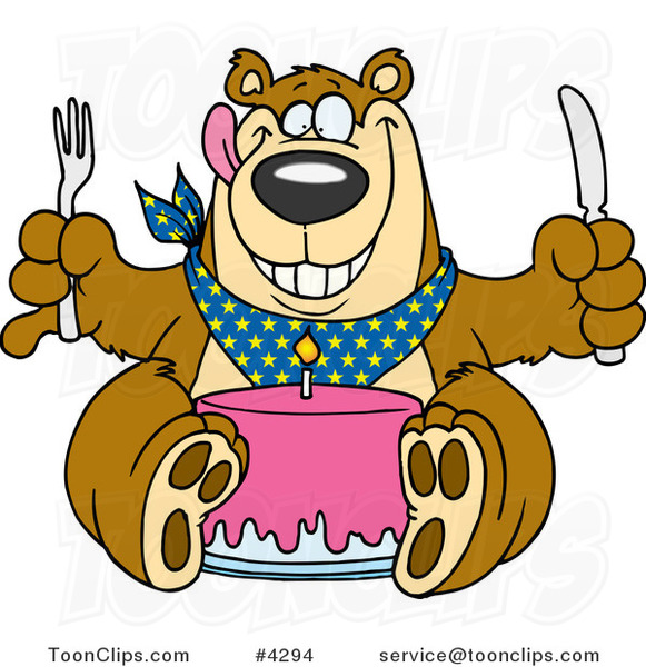 Cartoon Birthday Bear Eating Cake 4294 by Ron Leishman