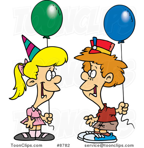 Cartoon Birthday Boy and Girl with Balloons