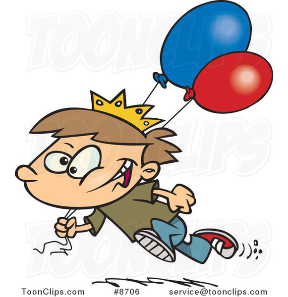 Cartoon Birthday Boy Running with Balloons