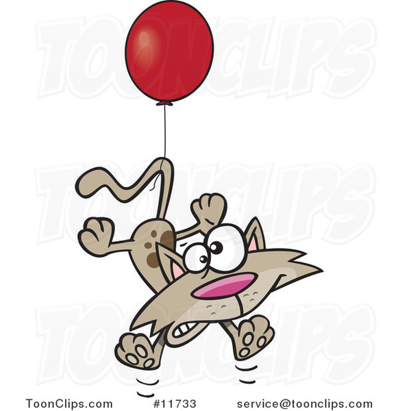 Cartoon Birthday Cat Floating with a Party Balloon