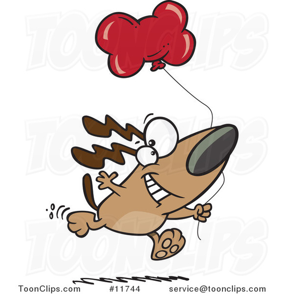 Cartoon Birthday Dog Running with a Party Balloon