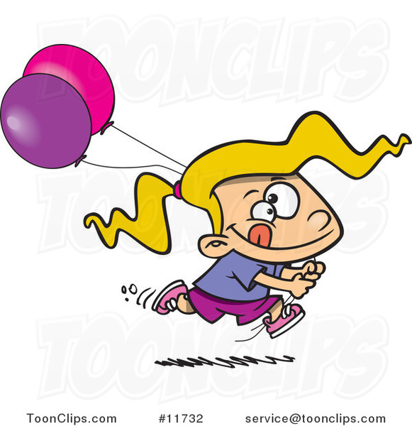 Cartoon Birthday Girl Running with Party Balloons