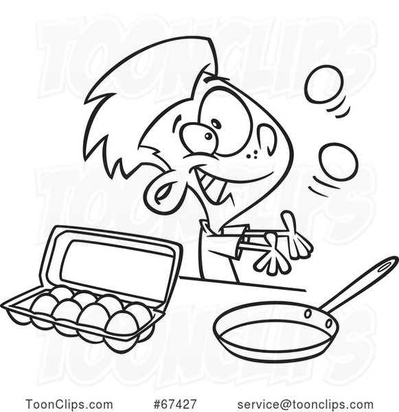 Cartoon Black and White Boy Juggling and Preparing to Make Scrambled Eggs