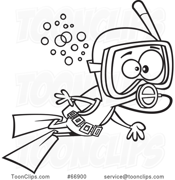 Cartoon Black and White Boy Scuba Diving