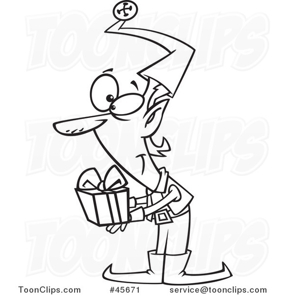 Cartoon Black And White Christmas Elf Holding Out A Gift 45671 By Ron Leishman
