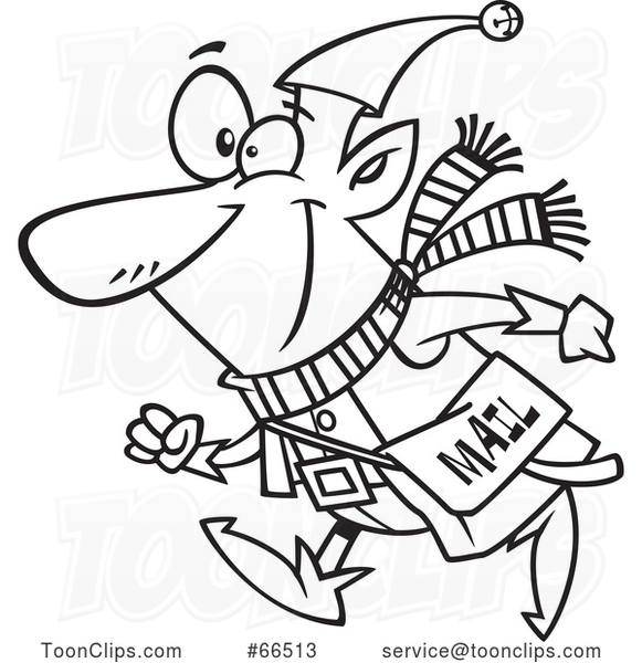 Cartoon Black and White Christmas Elf with a Mail Pouch