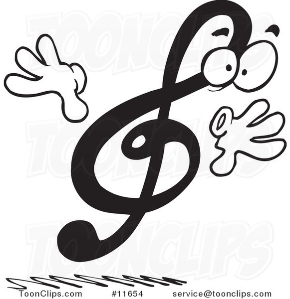 Cartoon Black and White Design of a Treble Clef