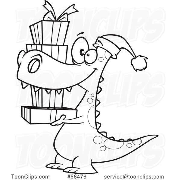 Cartoon Black and White Dinosaur Wearing a Santa Hat and Carrying Christmas Gifts
