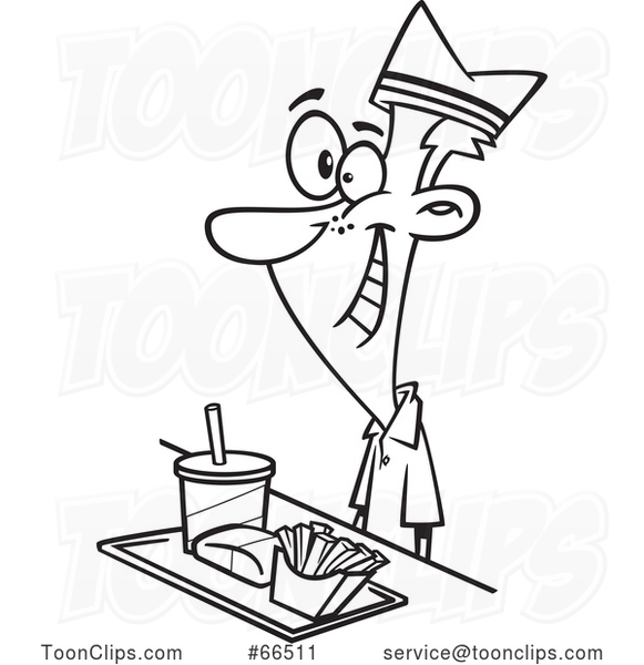 Cartoon Black and White Fast Food Worker Guy with a Tray of Food at a Counter