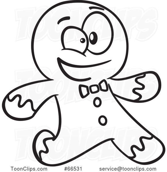 Cartoon Black and White Gingerbread Guy Running