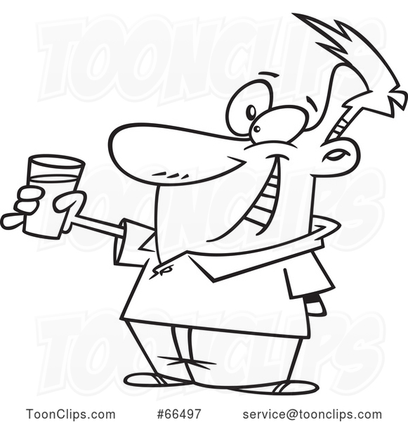 Cartoon Black and White Guy Toasting with Milk