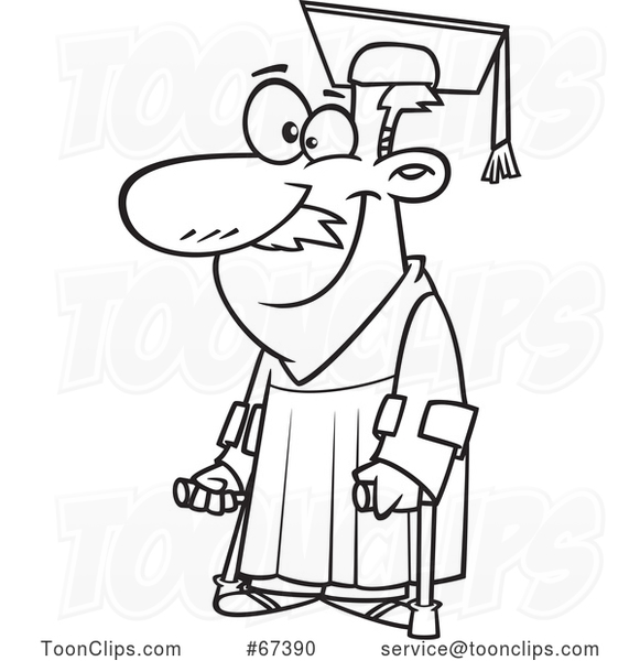 Cartoon Black and White Happy Older Graduate with Canes
