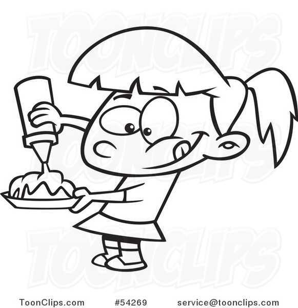 Cartoon Black And White Hungry Girl Pouring Syrup On Her Food 54269 By Ron Leishman