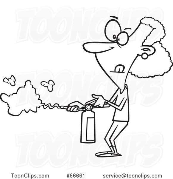 Cartoon Black and White Lady Using a Fire Extinguisher
