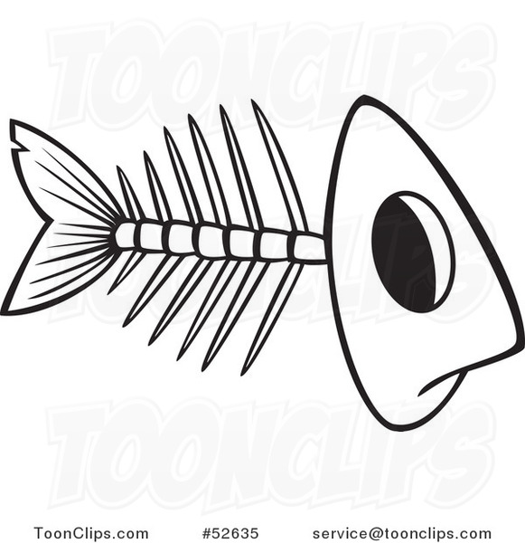 Cartoon Black and White Line Art of a Fish Bone Skeleton #52635 by Ron ...