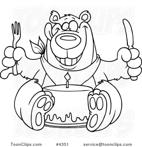 cartoon black and white line drawing of a birthday bear eating cake 4351 by ron leishman