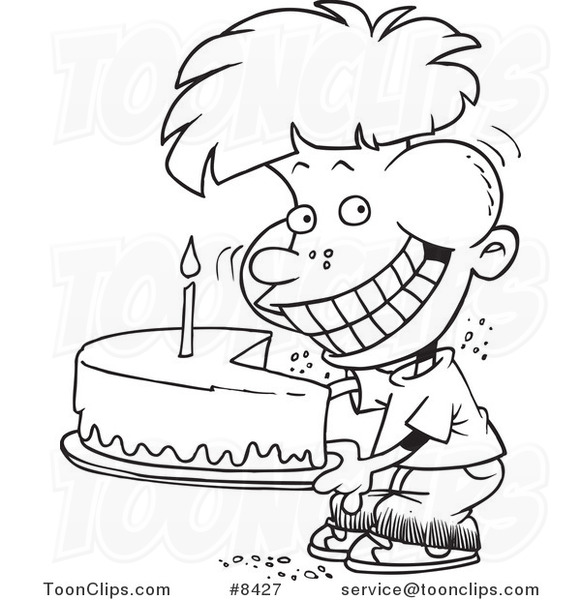 Cartoon Black and White Line Drawing of a Birthday Boy Eating an