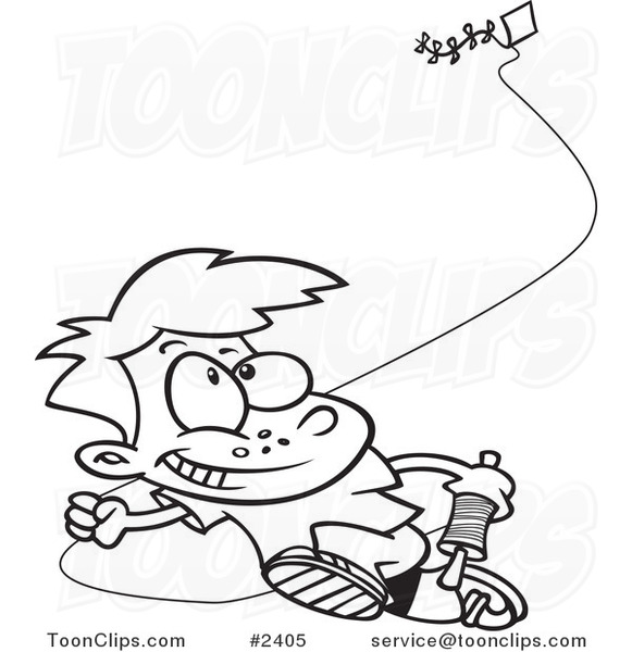 Line Drawing Kite : Cartoon black and white line drawing of a boy flying