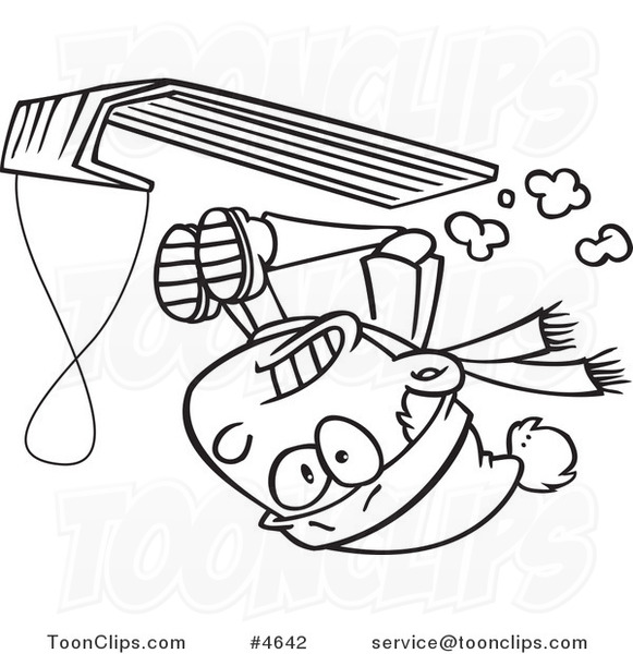 Line Drawing Upside Down : Cartoon black and white line drawing of a boy going upside