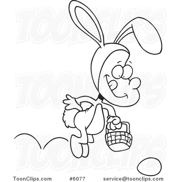 Line Art Easter Bunny : Cartoon black and white line drawing of a boy hopping in